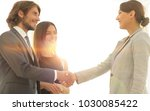 businesspeople  shaking hands... | Shutterstock . vector #1030085422