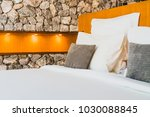 confortable white pillow on bed ... | Shutterstock . vector #1030088845