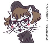 Stock vector hipster white cat with glasses and black jacket isolated vector cartoon on white background 1030092472