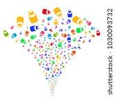 multicolored vial exploding...   Shutterstock .eps vector #1030093732