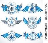 vintage decorative heraldic...   Shutterstock .eps vector #1030094722