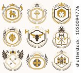 vector vintage heraldic coat of ... | Shutterstock .eps vector #1030094776