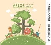 arbor day vector flat... | Shutterstock .eps vector #1030095892