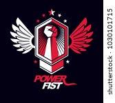 strong fist of a muscular man... | Shutterstock .eps vector #1030101715