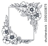 vector black and white floral... | Shutterstock .eps vector #1030103875