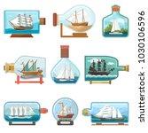 vector ship in bottle boat in... | Shutterstock .eps vector #1030106596
