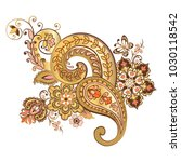 ornate ornament with fantastic... | Shutterstock .eps vector #1030118542