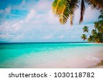 tropical sand beach with palm... | Shutterstock . vector #1030118782