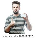 handsome man in gray striped...   Shutterstock . vector #1030122796