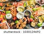 delicious giant rustic starter... | Shutterstock . vector #1030124692