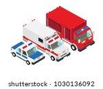 fire truck ambulance truck...   Shutterstock .eps vector #1030136092