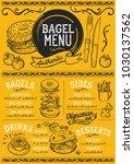 bagels restaurant menu. vector... | Shutterstock .eps vector #1030137562