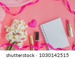flat lay desk with notebook and ... | Shutterstock . vector #1030142515