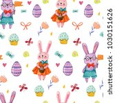 easter watercolor pattern with... | Shutterstock . vector #1030151626