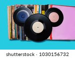 top view of vinyl records... | Shutterstock . vector #1030156732