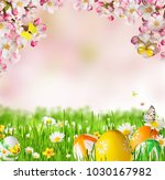 idyllic spring meadow with... | Shutterstock . vector #1030167982