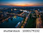 night scape on rotterdam from... | Shutterstock . vector #1030179232