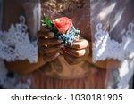 tender bride in a silk robe... | Shutterstock . vector #1030181905