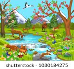 cartoon illustration of wild... | Shutterstock .eps vector #1030184275