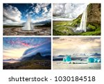 set of picture from iceland ... | Shutterstock . vector #1030184518