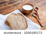 bread slices on white kitchen... | Shutterstock . vector #1030185172