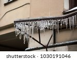 transparent icicles on the... | Shutterstock . vector #1030191046