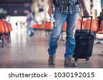 close up traveler with bag and... | Shutterstock . vector #1030192015