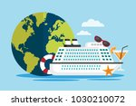 white cruise ship with globe.... | Shutterstock .eps vector #1030210072