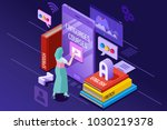 learning from textbook this is... | Shutterstock .eps vector #1030219378