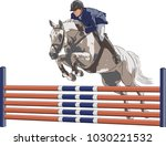 Stock vector a man on a horse is jumping over an obstacle 1030221532