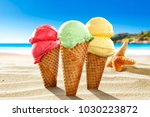 ice creams on beach and shells... | Shutterstock . vector #1030223872