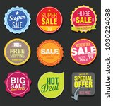 sale stickers and tags vector... | Shutterstock .eps vector #1030224088