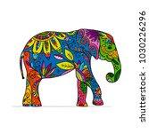 elephant ornate  sketch for...   Shutterstock .eps vector #1030226296