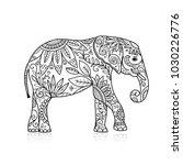 elephant ornate  sketch for... | Shutterstock .eps vector #1030226776