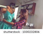 young fashion designer working... | Shutterstock . vector #1030232806