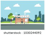 bus stop in city park with... | Shutterstock .eps vector #1030244092