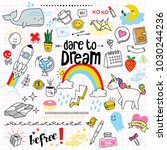 set of cute and colorful doodle ... | Shutterstock .eps vector #1030244236