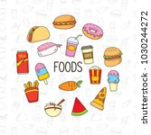 set of colorful cute doodle... | Shutterstock .eps vector #1030244272