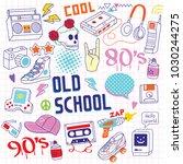 set of 80s   90s doodle hand... | Shutterstock .eps vector #1030244275