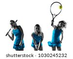 blonde woman playing tennis | Shutterstock . vector #1030245232