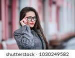 beautiful young woman with... | Shutterstock . vector #1030249582