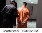 rear view of prison officer... | Shutterstock . vector #1030254055