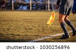 Small photo of Football soccer arbiter assistant moves at sideline observing the match with flag at hands. Blurred green field and nature background, close up view, banner, space.