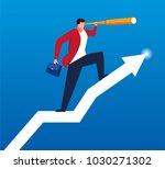 businessman holding telescope... | Shutterstock .eps vector #1030271302