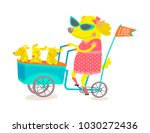 mom dog and puppies over a... | Shutterstock .eps vector #1030272436