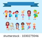 back to school kids isolated ... | Shutterstock . vector #1030275046