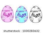 easter eggs set. inscription ...   Shutterstock .eps vector #1030283632