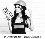 pretty cute sexy builder girl... | Shutterstock . vector #1030285366