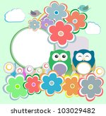 background with owl  flowers... | Shutterstock .eps vector #103029482