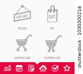 shopping cart  gift bag and... | Shutterstock .eps vector #1030300216